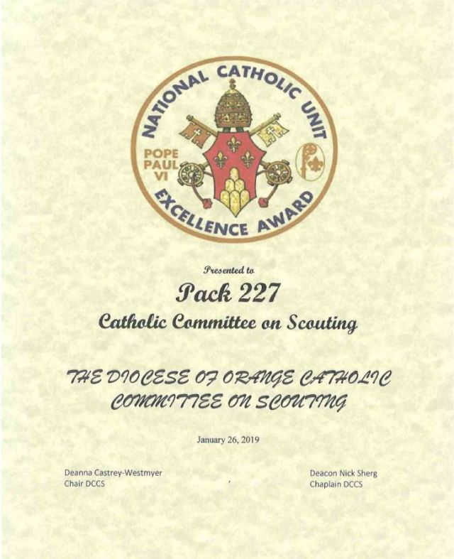National Catholic Unit Excellence Award Pack 227 2019
